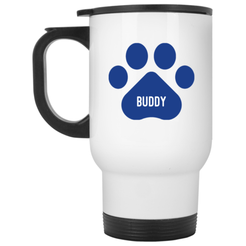 Blue Paw Personalized White Travel Mug