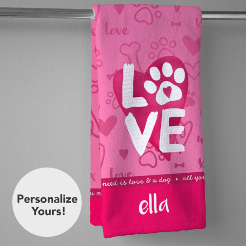All You Need Is Love And A Dog Personalized Hand Towel