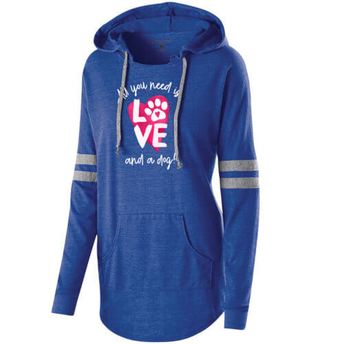 All You Need Is Love And A Dog Varsity Slouchy Hoodie