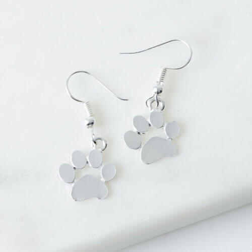 My Favorite Little Paws Silver Dangle Earrings