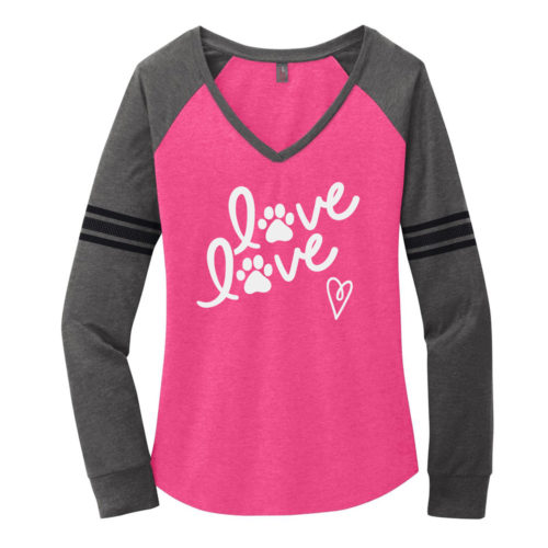 Love Love Varsity V-Neck Long Sleeve Shirt