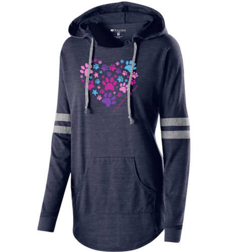 Paw Prints On My Heart Varsity Slouchy Hoodie