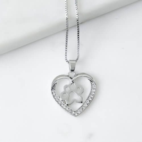 Paws In My Heart Rhinestone Necklace
