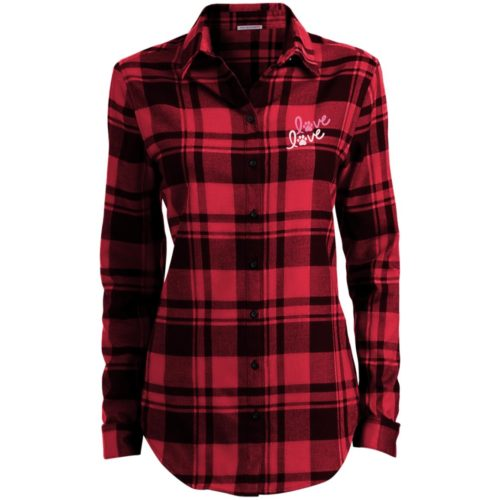 Love Love Embroidered Ladies' Flannel Shirt