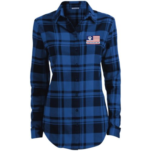 Every Dog Matters Flag Embroidered Ladies' Flannel Shirt