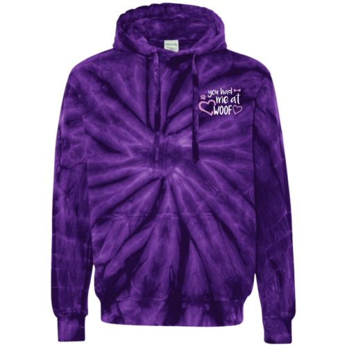 You Had Me At Woof Embroidered Tie-Dyed Pullover Hoodie
