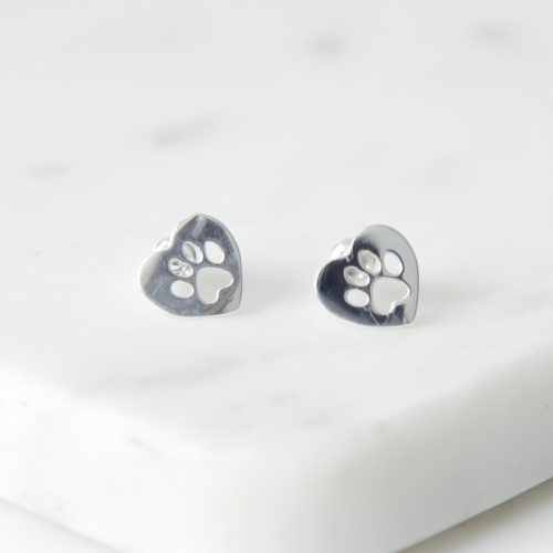 Paws In My Heart Silver Stud Earrings