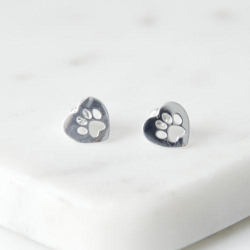 Paw Prints On My Heart ♥️ Silver Stud Earrings