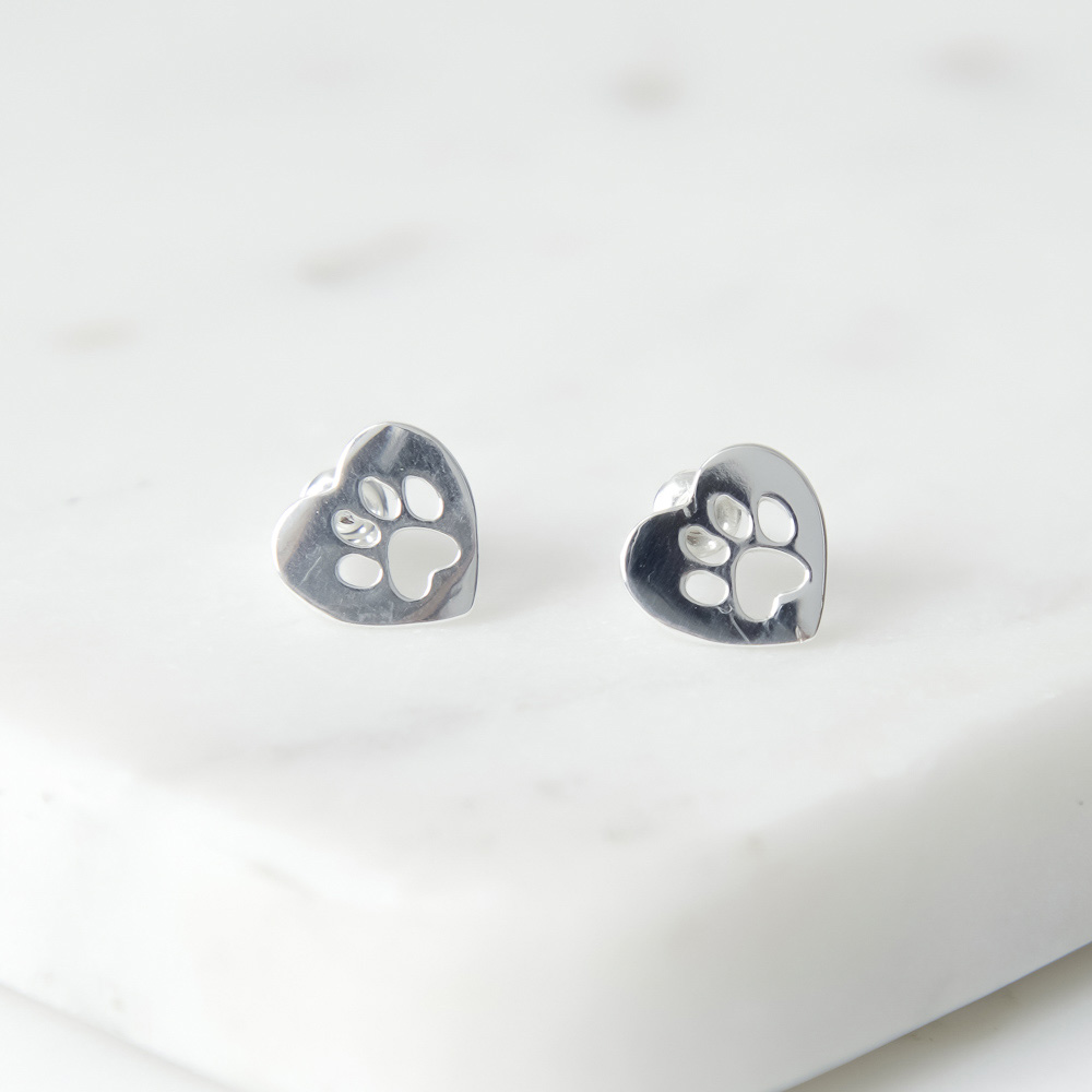 Image of Paws In My Heart Silver Stud Earrings