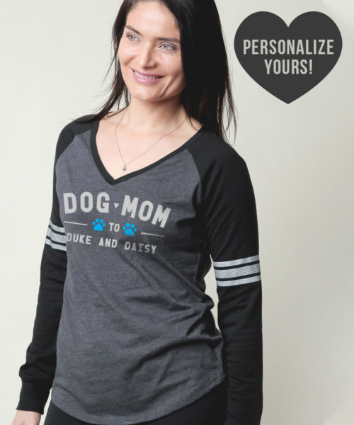 Dog Mom To My Fur Babies Personalized Varsity V-Neck Grey & Black Long Sleeve