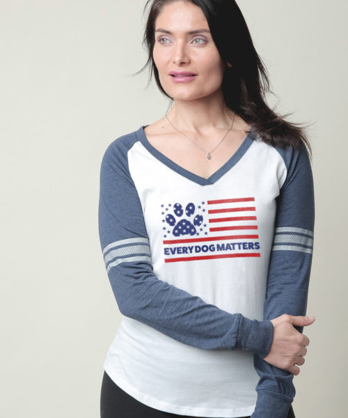 Every Dog Matters Flag Varsity V-Neck White & Navy Long Sleeve