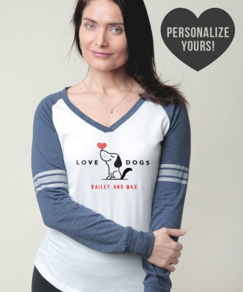 Love Dogs Personalized Varsity V-Neck White & Navy Long Sleeve