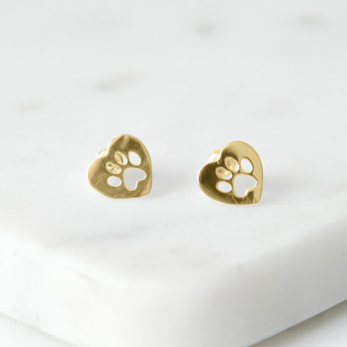 Paws In My Heart Gold Stud Earrings
