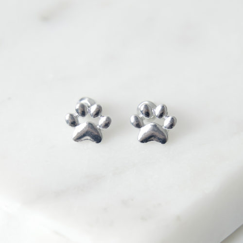 Little Paw Prints Silver Stud Earrings