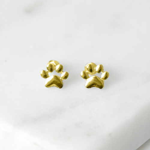 Little Paw Prints Gold Stud Earrings
