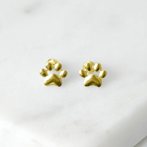 Little Paw Prints Gold Stud Earrings