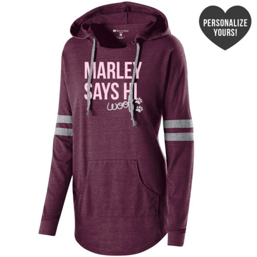 My Dog Says Hi Personalized Maroon Slouchy Hoodie