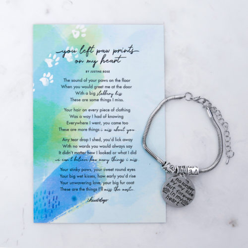 You Left Paw Prints On My Heart Memorial Magnet & Bracelet Set