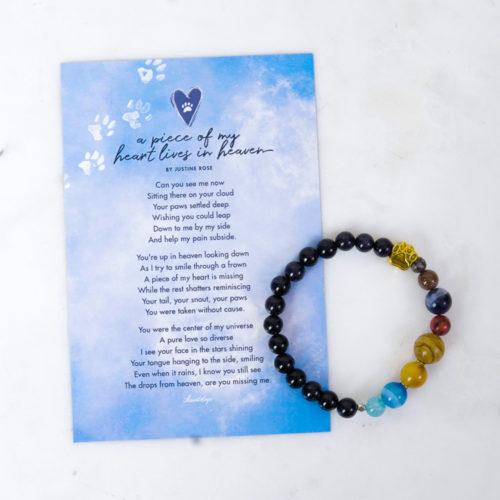 A Piece Of My Heart Lives In Heaven Memorial Magnet & Bracelet Set