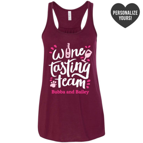 Wine Tasting Team Personalized Flowy Maroon Tank