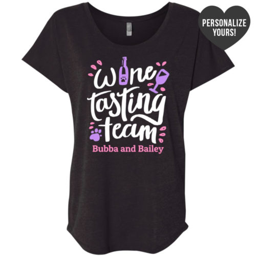 Wine Tasting Team Personalized Slouchy Vintage Black Tee