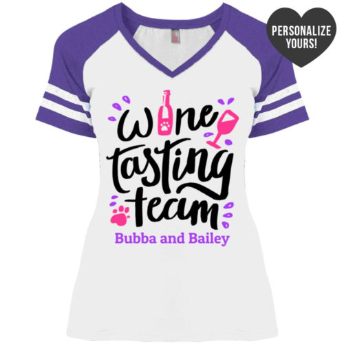 Wine Tasting Team Personalized Varsity V-Neck White Tee