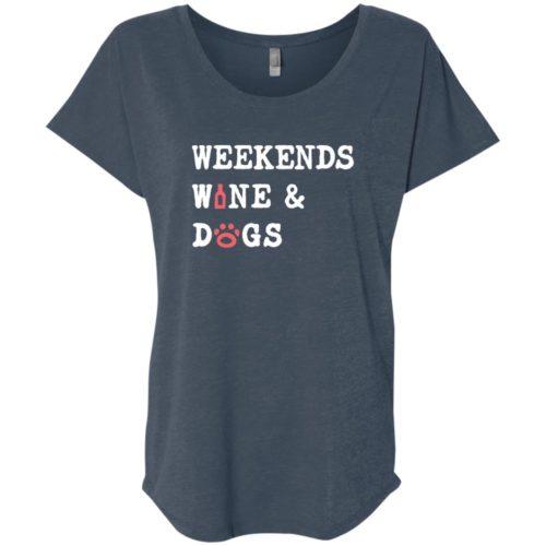 Weekend Wine & Dogs Slouchy Indigo Blue Tee