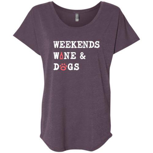 Weekend Wine & Dogs Slouchy Vintage Purple Tee