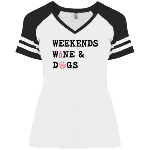Weekend Wine & Dogs Varsity V-Neck White Tee