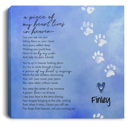 A Piece Of My Heart Lives In Heaven Personalized Canvas Print
