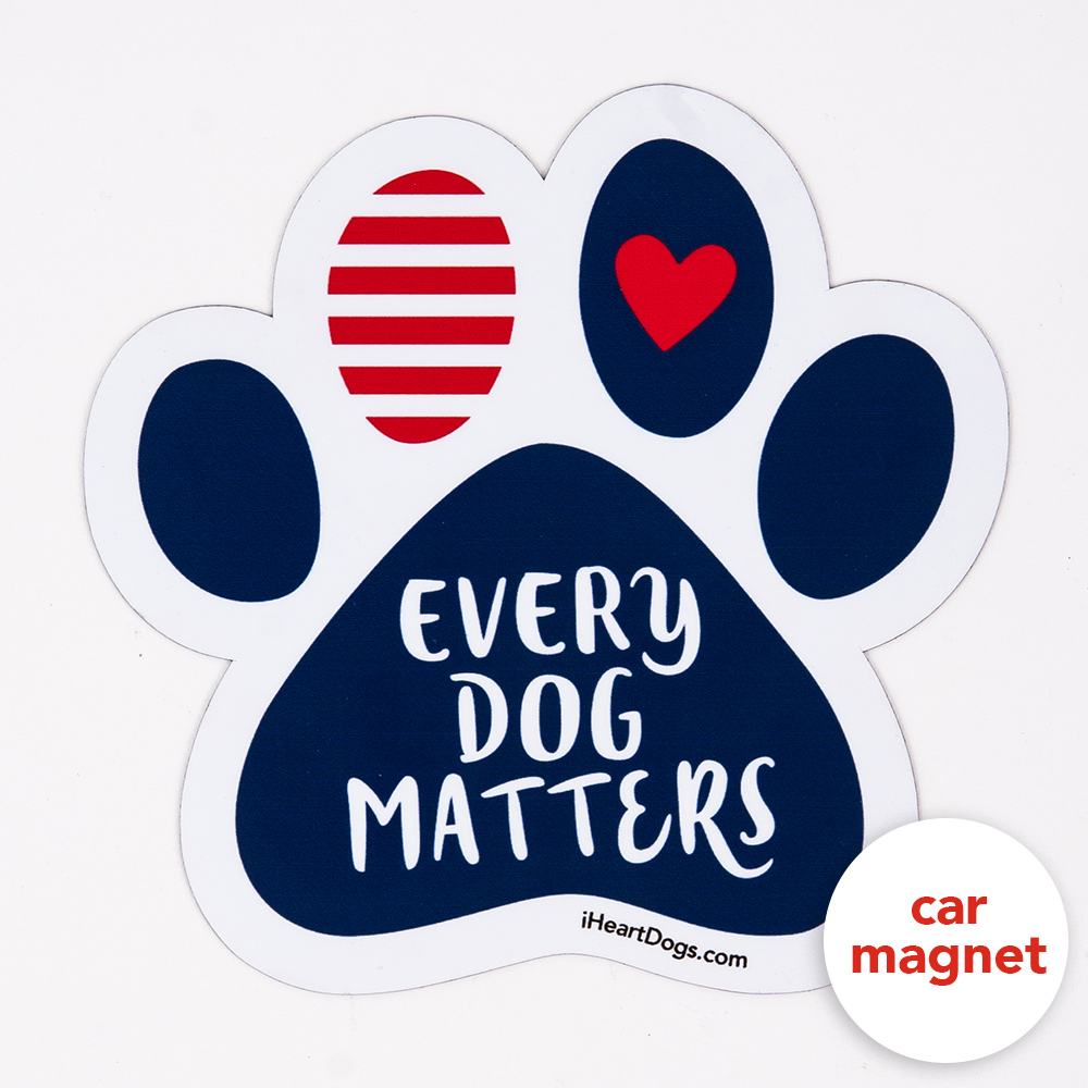 I Love Heart My Rescue Dog Paw Quote Car Magnet