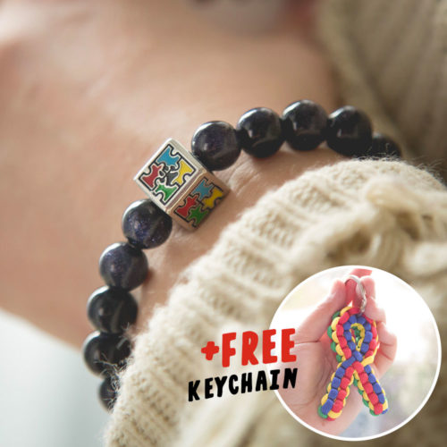 Autism Awareness Blue Goldstone Bracelet Plus Free Keychain