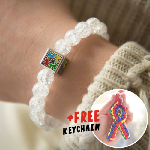 Autism Awareness Crackle Bracelet Plus Free Keychain