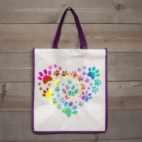 Grocery Bag Heart Paw Tie Dye - Purple Trim