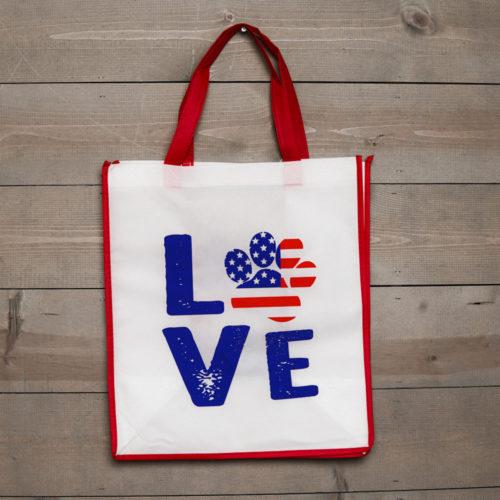 Grocery Bag Love Paw USA - Dark Red Trim