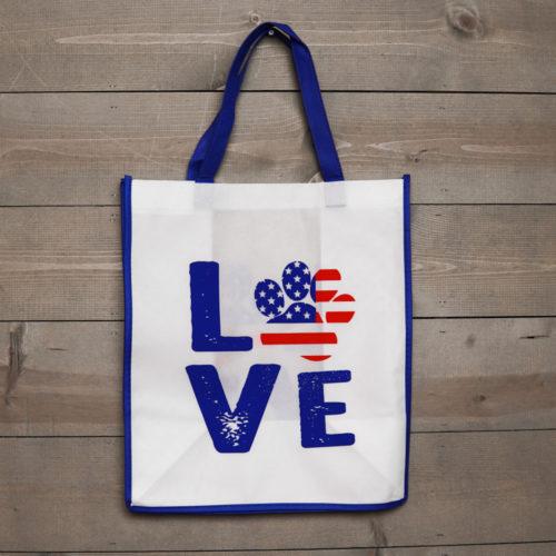 Grocery Bag Love Paw USA - Navy Blue Trim