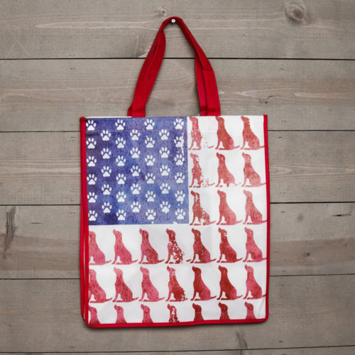 Red Dog Blue Paw Grocery Bag – Red Trim