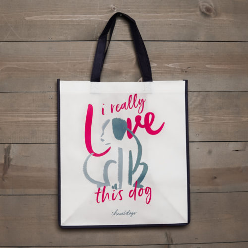 I Really Love This Dog Sketch Grocery Bag
