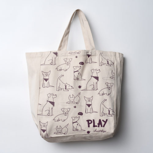 Playful Pups Large Canvas Tote