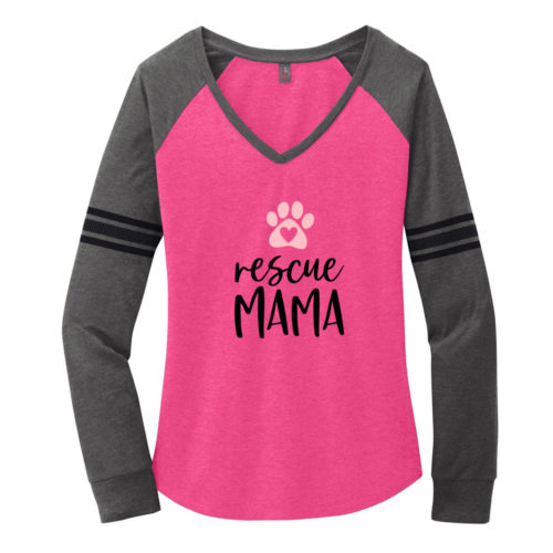 Rescue Mama Varsity V-Neck Pink & Grey Long Sleeve