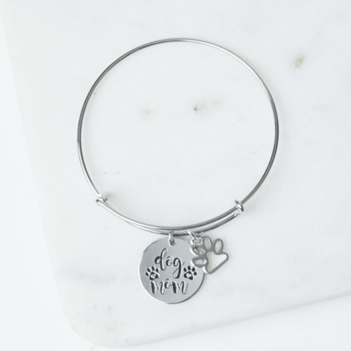 Best Dog Mom Bracelet With Paw Charm