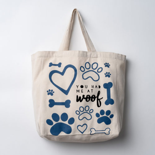 You Had Me At Woof Large Canvas Tote