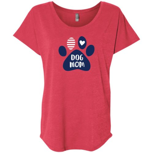 Dog Mom Paw Slouchy Vintage Red Tee