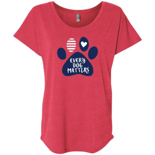 Every Dog Matters Paw Print Slouchy Red Tee