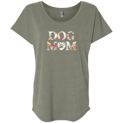 Dog Mom Floral Slouchy Venetian Grey Tee