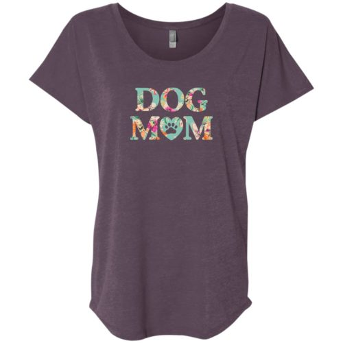Dog Mom Floral Slouchy Vintage Purple Tee