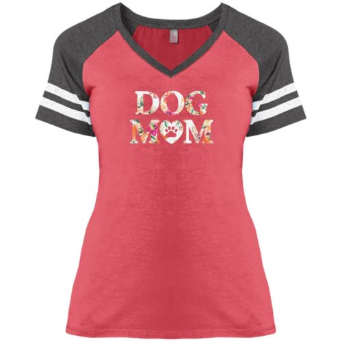 Dog Mom Floral Varsity V-Neck Heather Red Tee