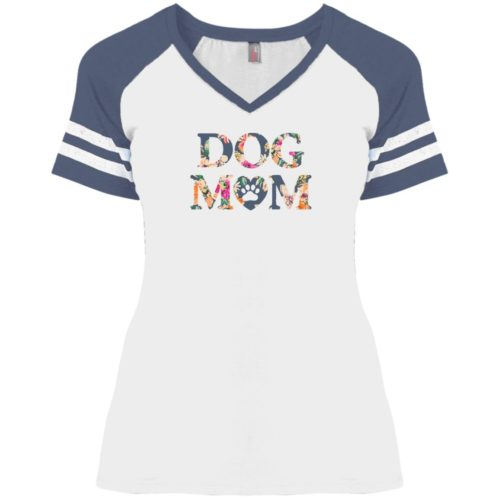 Dog Mom Floral Varsity V-Neck White Tee