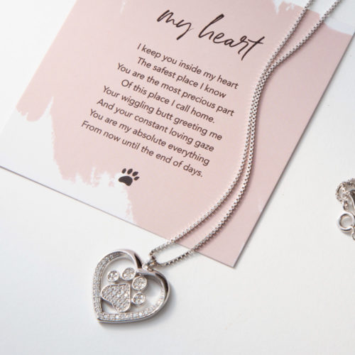 Limited Edition My Dog Is My Heart Sterling Silver Necklace