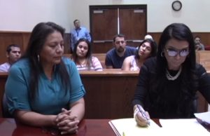 Mario Cardona's wife, Rosa Maria Cardona, testifying on his behalf in court - and rightfully getting shut down. (Picture by KVEO News)